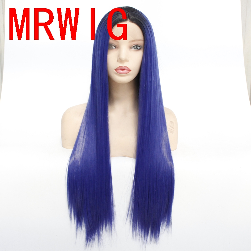 MRWIG 26in real hair picture ombre blue long straight synthetic front lace wig middle part 150%320g for woman
