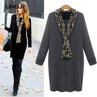 Fashion Winter Women Dresses Cotton Thicken Warm Long Sleeve Pullover Dress O Neck Casual Solid Scarf