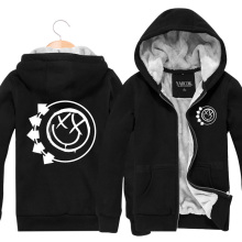 2015 Winter Cotton Coat Black Zip Cardigan Thickening Plus Velvet Jacket Blink-182 Rock Band Mens Hoodies And Sweatshirts