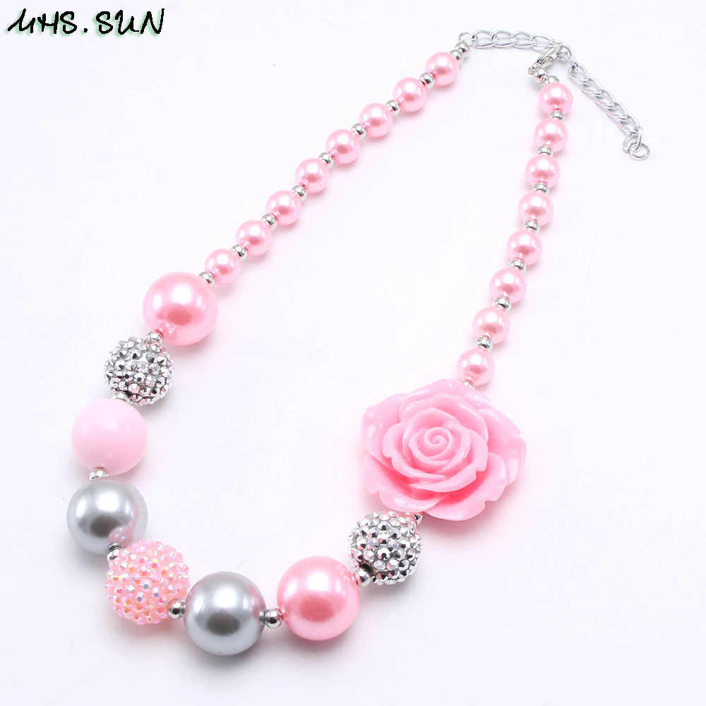MHS.SUN Pink Style Girls Kids Chunky Beads Necklace With Rose Flower Child Bubblegum Beaded Necklace Fashion Chunky Jewelry 1PCS