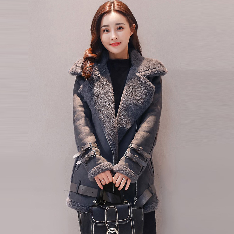 2018 Thicker Winter   Suede     Leather   short Jacket Women plus Lambs Wool Warm Female Buckskin   leather   Jacket Coats parka QH1233
