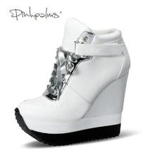 ピンク手のひらカジュアル、女性の靴ウェッジ靴レースアップとアンクルストラップ高さの増加のスニーカー靴