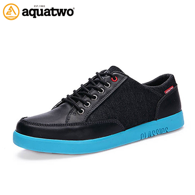 AQUA TWO Outdoor Walking Men Sports Skateboarding Shoes Genuine Leather Sneakers Durable Breathable Athletic Shoes ES-101226