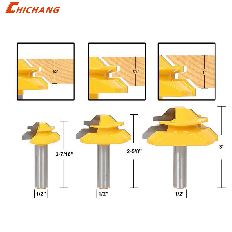 1pcs Lock Miter Router Bit Milling Cutters 45 Degree Carbide Wood Cutter 3/4 Stock For Carpenter Woodworking Tools 1 2 5 8 round nose bit for wood slotting milling cutters woodworking router bits