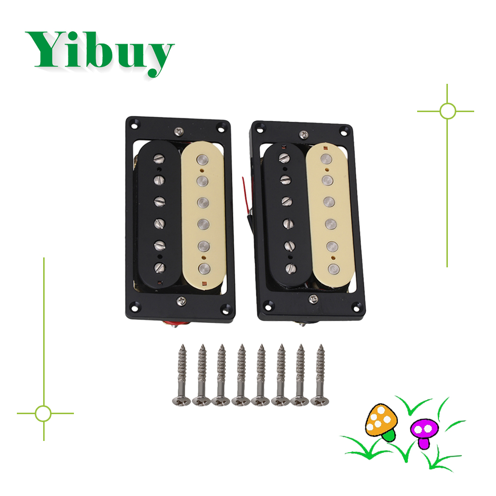 Yibuy  2 X Humbucker Double Coil Electric Guitar Pickups One Black One Cream yibuy double coil humbucker pickups set chrome cover for electric guitar