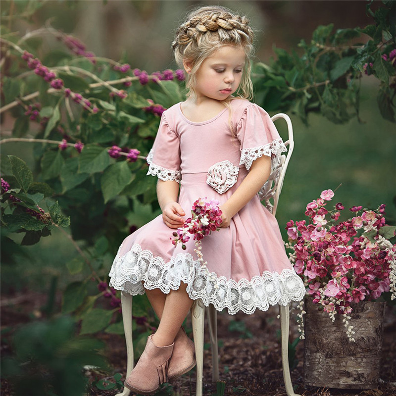 O-Neck Solid Lace Childrens Clothing Dress Flower Girls Dress Princess Summer Kids Dresses For Baby Girls Clothes 1 2 3 4 5 Yrs 1