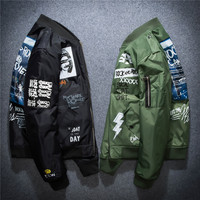 New Men's Loose Type Hip Hop Thin Coats Patch Decoration Youth Korean Style Fashion Men's Jacket Leisure Wear Plus Size