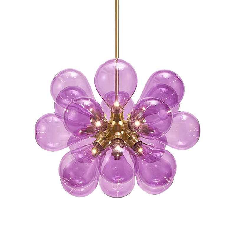 Creative Modern LED Chandeliers Blue Pink white Glass Suspendsion light 18 head bubble Lighting Living Room Lustre Free Shipping in Chandeliers from Lights Lighting