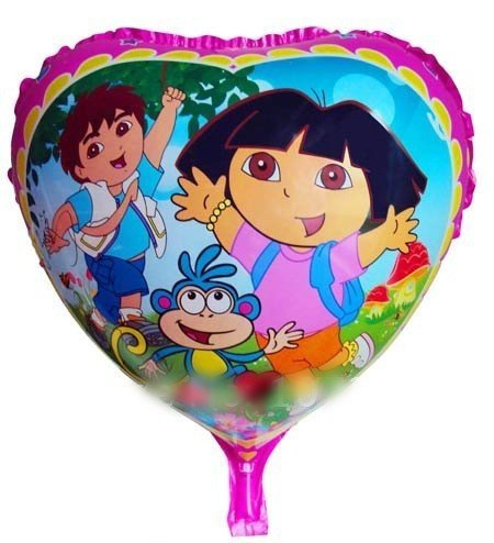"50 PCS 18"" inch heart Dora balloons kids birthday party decorations Inflatable toys gifts for children games"