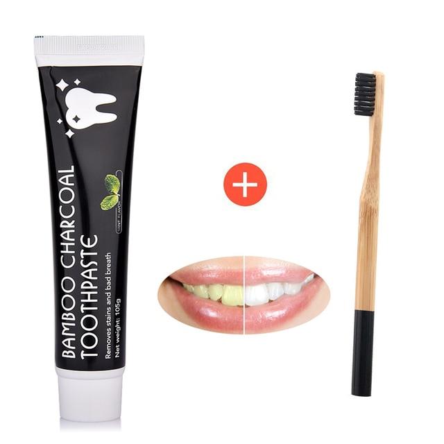 Cuidado Dental bambú Natural activado carbón dientes blanqueamiento negro pasta de dientes cepillo de dientes higiene bucal Dental Dropshipping