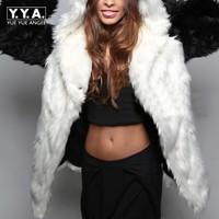 2017 Hot Sale European New Fashion Womens Faux Fur Coats Casual Female Hooded Warm Thick Outwear