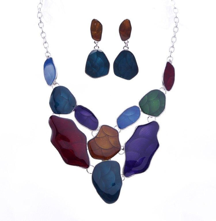 1a9a4a087838 Esmalte Collares joyería conjunto aleación Collares y pendientes  establecidas joyas de moda al por mayor de la aleación Collares a886