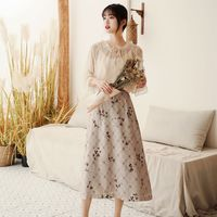 2019 new fashion women's two piece set Spring and summer blouse+ skirt set French top