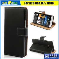 Genuine Split Leather Card Wallet Case Cover Stand For HTC One M7 801e Leather Case Free