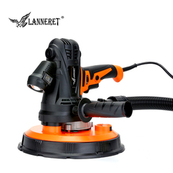 LANNERET 1240W 225mm Dry Wall Sander Variable Speed Handheld Drywall Sander with Sandpaper, Collection Bag, LED Light Dust Free
