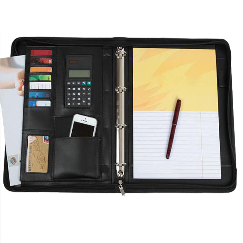 black blue red business zipper PU leather portfolio a4 documents folder cases manager bag Tablet PC