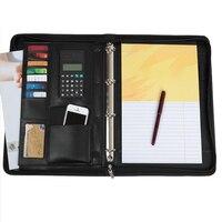 Siyah/mavi/kırmızı İş fermuar PU deri portföy a4 belgeleri klasör kılıfları yöneticisi çantası Tablet PC cep padfolio binder