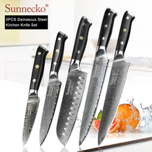SUNNECKO 5PCS Kitchen Knives Set Japanese VG10 Damascus Steel Chef Utility Santoku Slicer Paring Knife G10 Handle Cooking Tools