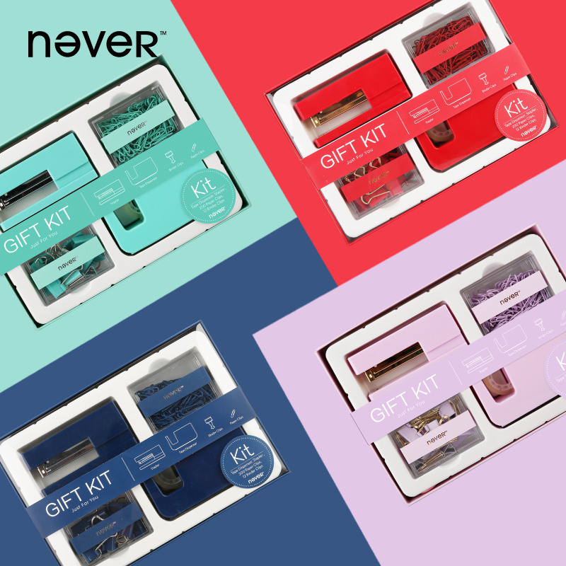 Never Office Gift Kit Acrylic Stapler Tape Dispenser Paper Clip Binder Clips Stationery Sets For Office Business School Gift Set free shipping deli 0451 candy color stitching machine set mini stapler belt clip staples attached manual mini stapler
