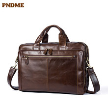PNDME first layer cowhide Men's multi-function briefcase business bag  vintage genuine leather handbag Crossbody Bags p kuone first layer cowhide male bag business men handbag cross section shoulder bags genuine leather briefcase laptop bag
