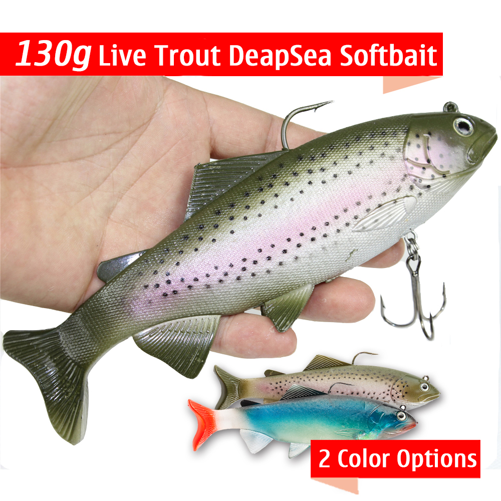 Seanlure 130g Live Trout Softbait DeepSea Fish 20cm Big Size Lure Fishing Tackle big country live