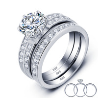 2 Carat Round Cut Created Diamond Solid 925 Sterling Silver 3 Pcs Wedding Engagement Ring Set