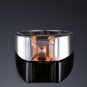 Image 2 - Jewelrypalace Mens Square 2.2ct Genuine Smoky Quartz Wedding Ring 925 Sterling Silver Wedding Ring For Men Fashion Accessories