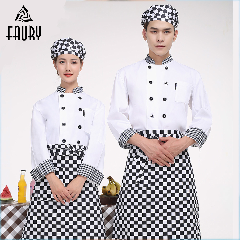 Unisex Chef Jacket Food Service Double Breasted Stand Collar Patchwork Long Sleeve Kitchen Cuisine Restaurant Catering Workwear