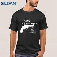 Diversi Magliette Pistole non Uccidono Le Persone Vigili Del Fuoco Con Abbastanza Figlie Fare Formato di Colore Solido Nero Uomini Tee Shirts camicie