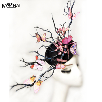 Women's Fascinator Headpiece Wedding Party Mini Top Hat Handmade Gothic Butterfly Antler Headdress Horns Hair Accessories