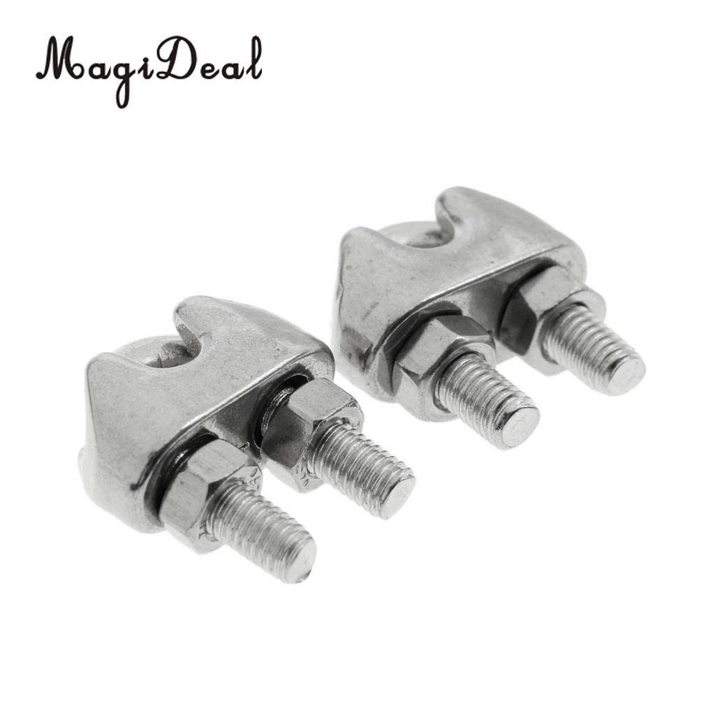MagiDeal 2 Pieces M4 5/32 Inch Stainless Steel Wire Rope Cable Clip ...