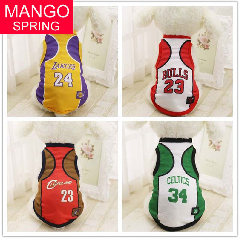Pet Cheap Dog Clothes With Free Shipping Mesh Cute Dog Vest 4 Teams NBA Jersey Basketball Uniforms Sportswear XS-4XL image