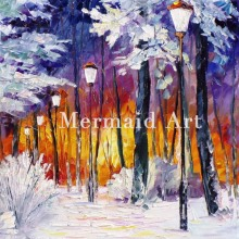 Landscape Abstract Winter Fire Hand Painted Palette Knife Modern Oil Painting Canvas Wall Living Room Artwork Fine Art