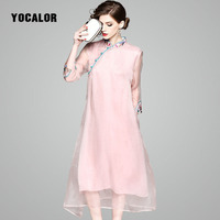 Woman Dress Plus Size Cheongsam Embroidered Dress 100 Real Silk Vestidos Mujer Plus Size A Line