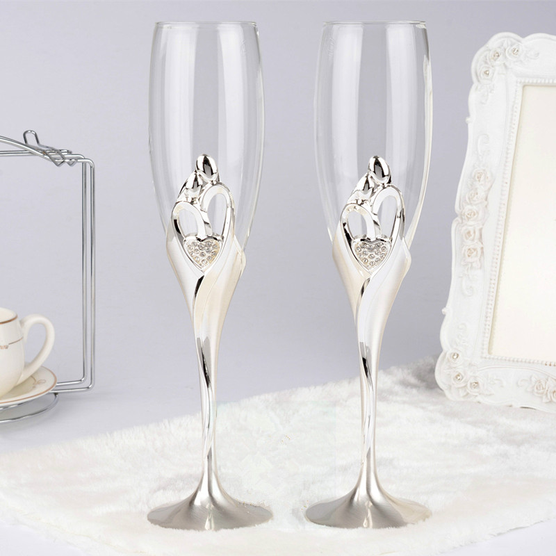 Aliexpress Buy Fashion Bride And Groom Pattern Wedding Toasting Glasses Set Heart Silver Plated Champagne Flutes Red Love Gifts From Reliable Gift
