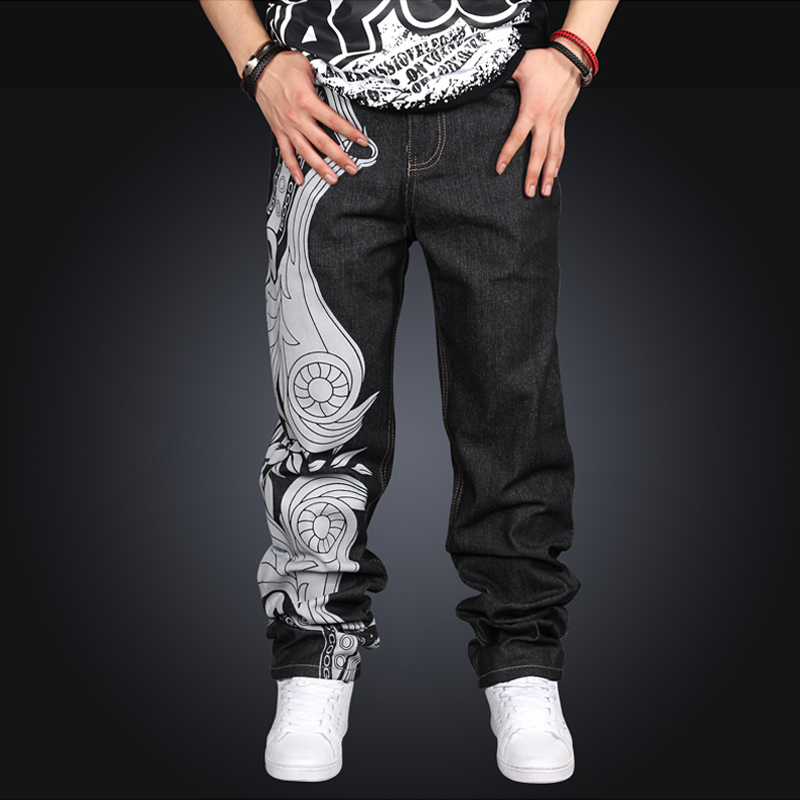 Men Casual Loose Mid Waist Full Length Print Embroidery Wide Leg Denim Hip Hop Pants Jeans Plus Size 2017 Hot High Quality hot new large size jeans fashion loose jeans hip hop casual jeans wide leg jeans