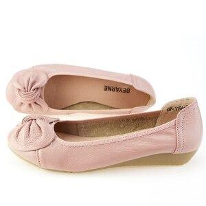 Image 2 - BEYARNE 9 สี PLUS ขนาด (34 43) สบายๆผู้หญิงของแท้หนังแบนรองเท้ารองเท้าผู้หญิงพยาบาลทำงานรองเท้าผู้หญิง