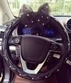 Strass Coberto Black Lace Bowknot Bonito Volante Do Carro Abrange As Mulheres-Car Styling Para O Diâmetro Exterior 38 CM de Direção-roda