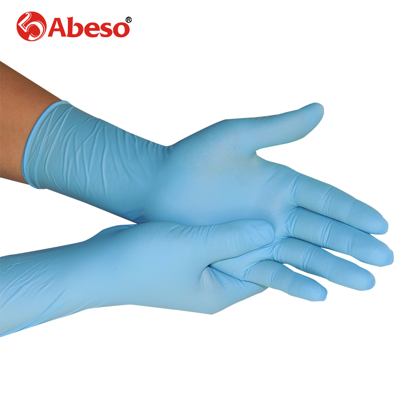 ABESO 100pcs/box NBR latex 12inch lengthen disposable gloves for food home cleaning Acid Alkali resistance antiskid golves A7111 anti acid and alkali chemical corrosion fisheries agriculture latex rubber gloves labor supplies black