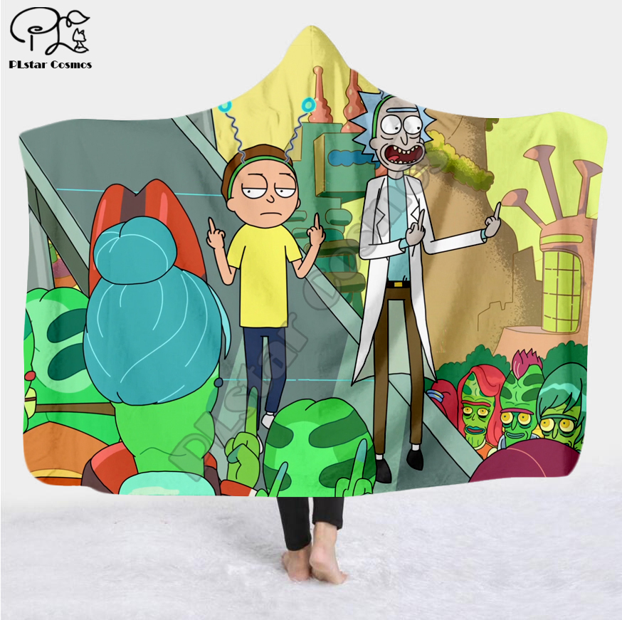 Image 5 - Cartoon Paintings Rick And Morty Blanket Hooded Blanket 3D full  print Wearable Blanket Adults men women Blanket style 10Blankets   -