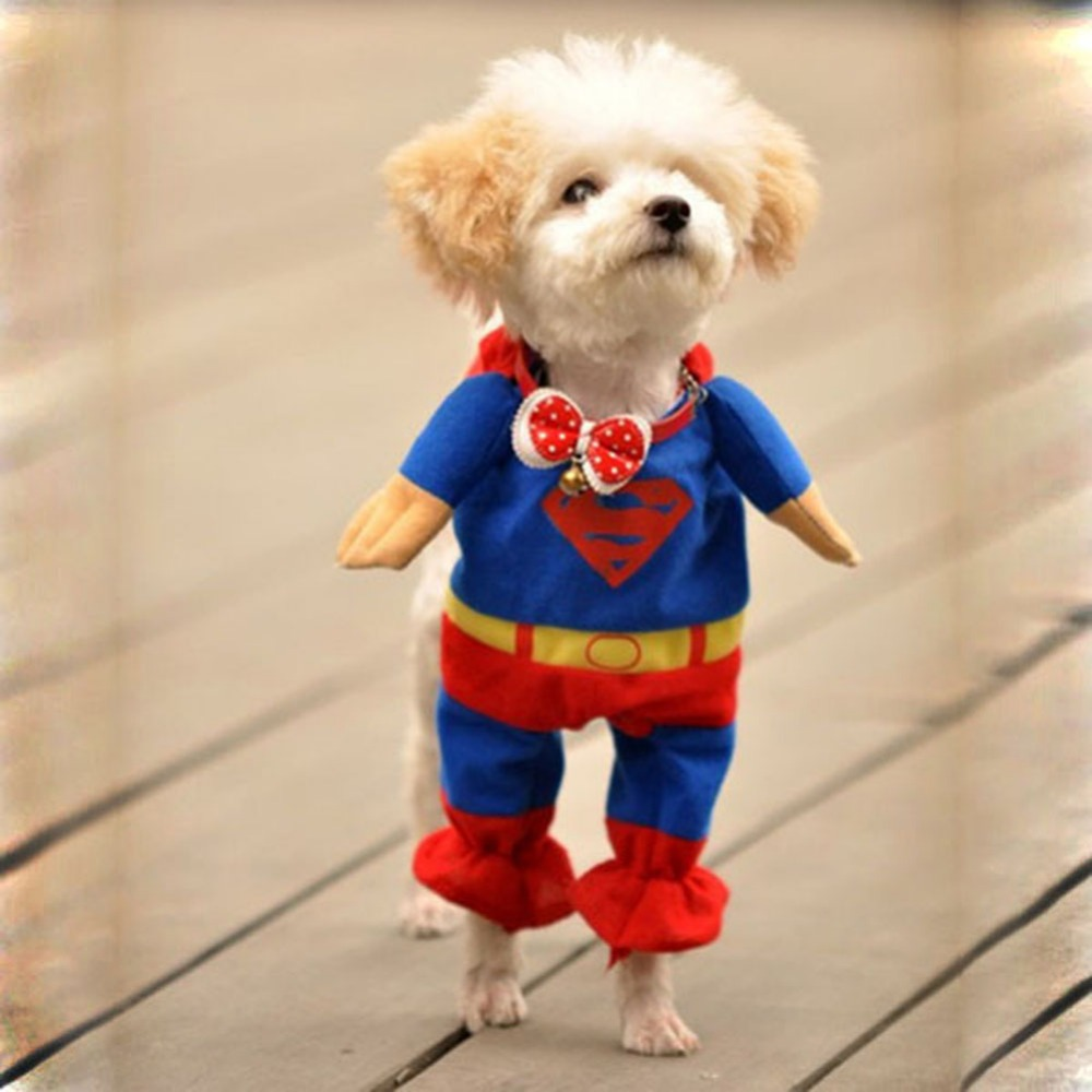 Cute Pet Small Dog Superman Clothes Costumes Suit Puppy Cats Jumpsuit Apparel
