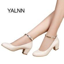 Yalnn Новый зрелых женщин высокий каблук женские туфли-лодочки пикантные вечерние туфли для невесты Обувь на толстом каблуке с закругленным носом