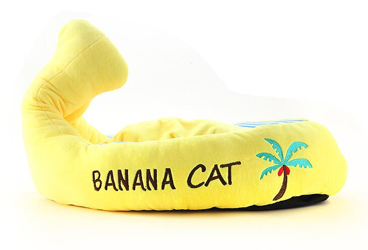 Perros gatos lindos moda Plátano Barco casa perrito caliente suave perreras cach