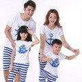 Новинка семья установить одежду для матери дочь и отец сын костюмы хлопка с коротким рукавом рубашки и мода полосатые брюки