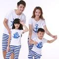 Nueva Moda de La Familia Fijó la Ropa Para La Madre Hija E Hijo Padre Trajes de Algodón de Manga Corta Y Camisas de Moda de Rayas pantalones