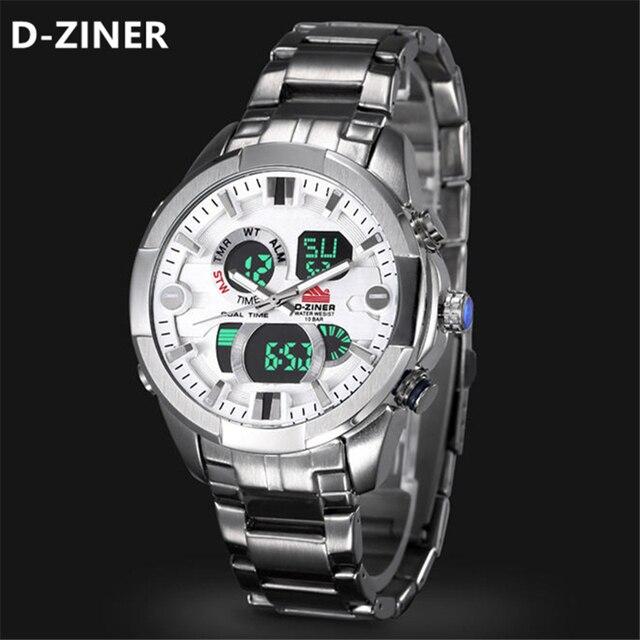 be676e7a0e60 D-ZINER Moda Reloj de Cuarzo de Los Hombres Militar Deportes Relojes  Hombres LED Digital