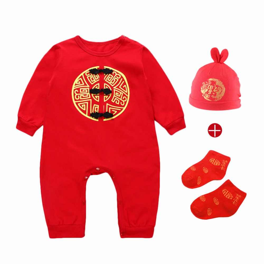 8f9983e4fc ... High Quality Chinese Traditional Blessing Baby Clothing Cotton Rompers  Embroidery Baby Jumpsuits New Year Lucky Red ...
