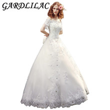 Gardlilac Hal Sleeve Ball Gown Wedding Dress with Beading Boat Neck Wedding Gown princess Bridal Dress with bow