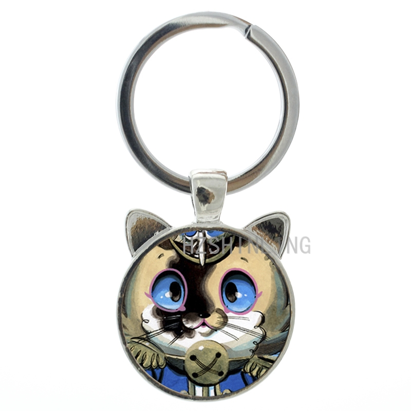 Vintage steampunk Doraemon keychain cartoon movie pokonyan ear animal pendant key chain ring kids novelty jewelry gift CN226