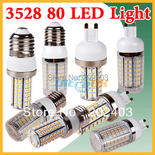 G9/E27/E14 220V 110V 5W 3528 SMD 80 LED Cool / Warm White Corn Light Bulb without Cover